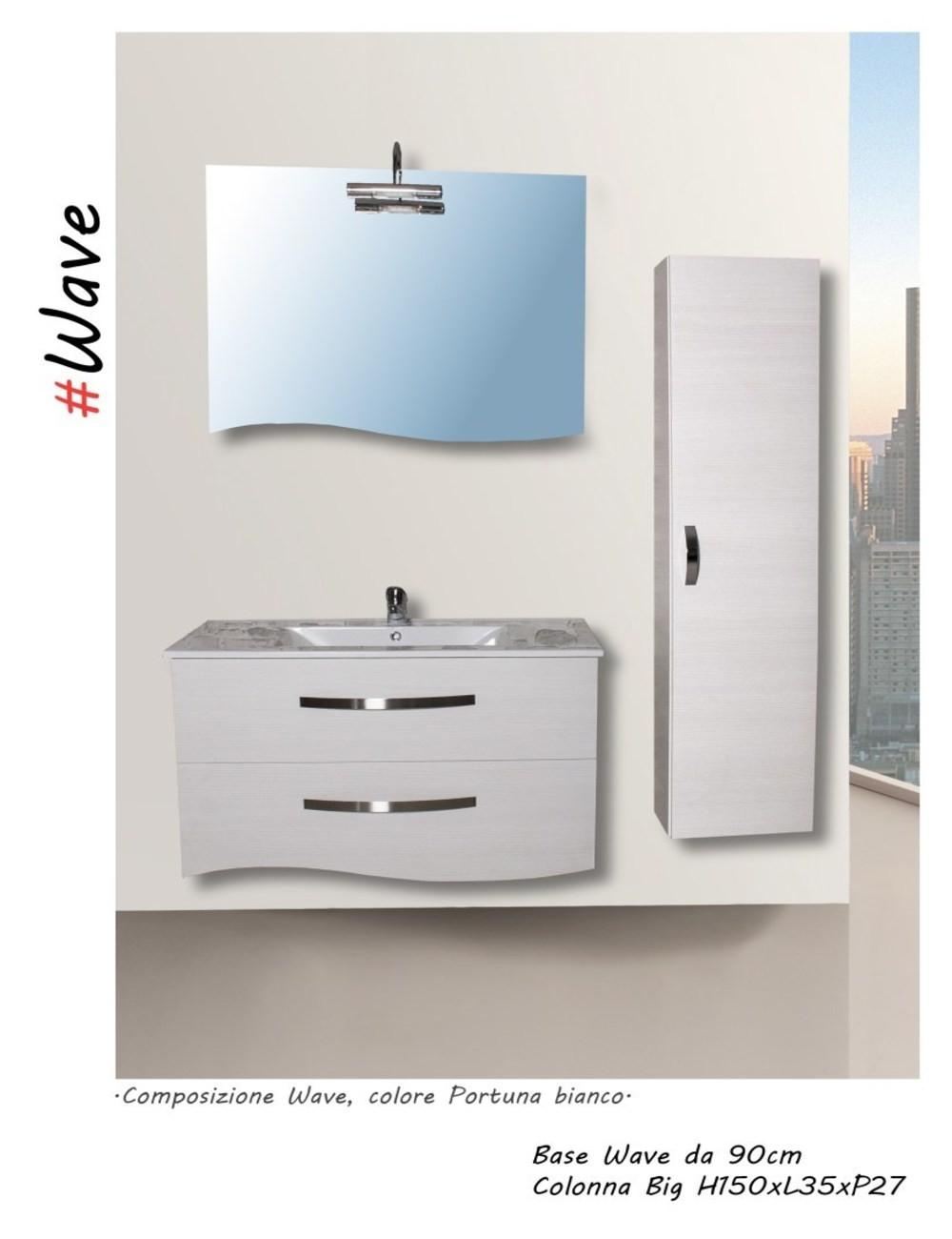 Mobile bagno wave 90 centimetri nobilitato laminato disponibile colore mobile portuna bianco - Mobile bagno laminato ...